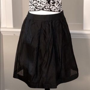 Burberry Black Cotton-Silk Organza A-Line Skirt